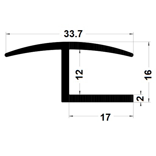H profile - 16x33,70 mm