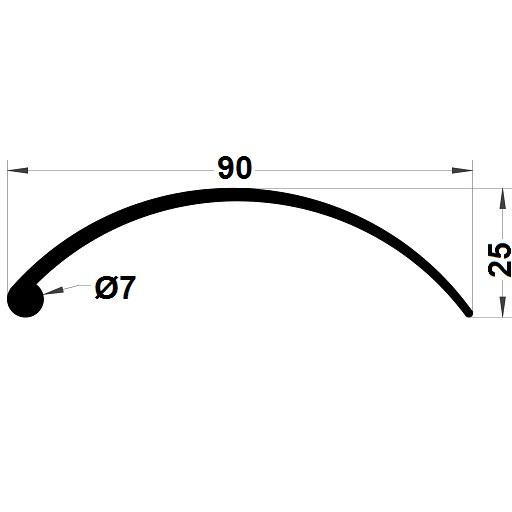 Profilé de pare-brise - 25x90 mm