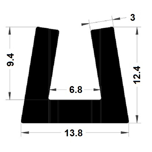 Profilé en U - 12,40x13,80 mm