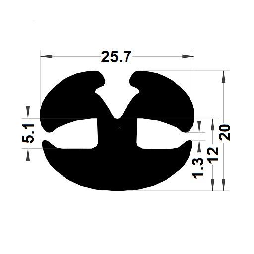 Windscreen seal - 20x25,70 mm