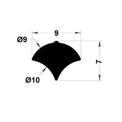 Profilé de pare-brise - 7x9 mm