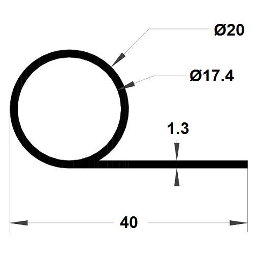 P Profile - 20x40 mm