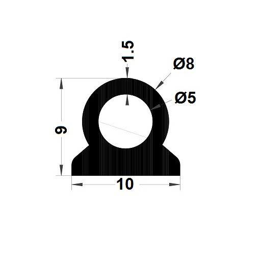 Profilé antichoc avec adhésif - 9x10 mm