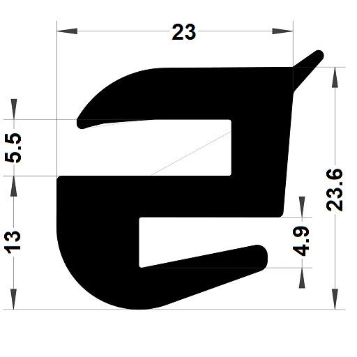 Profilé de pare-brise - 23,60x23 mm