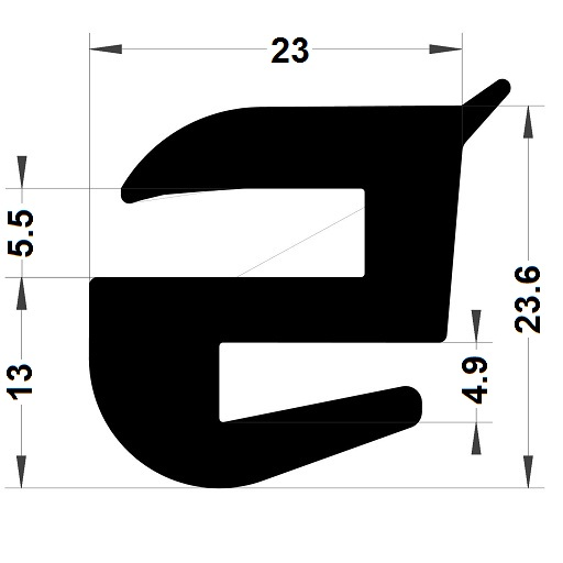 Windscreen seal - 23,60x23 mm
