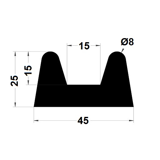 Bumper profile - 25x45 mm