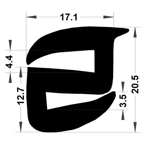Profilé de pare-brise - 20,50x17,10 mm