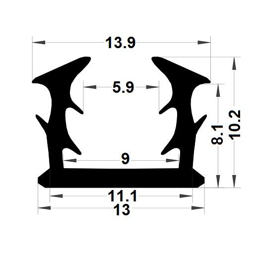 Glazing seal - 10,20x13,90 mm