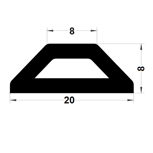 Bumper profile - 8x20 mm