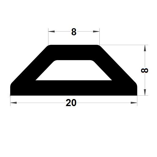 Profilé antichoc - 8x20 mm