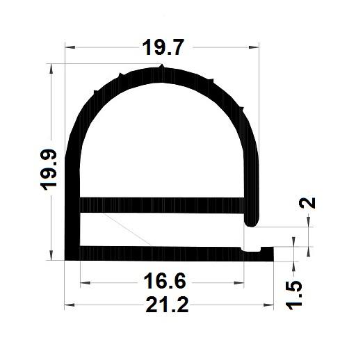 Profilé en E - 19,90x21,20 mm