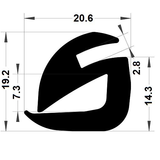 Profilé de pare-brise - 19,20x20,60 mm
