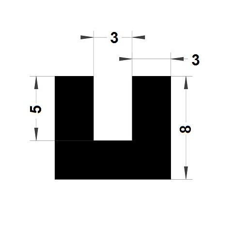 U Profile - 8x9 mm