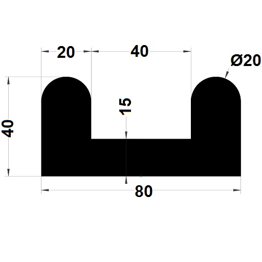 Bumper profile - 40x80 mm