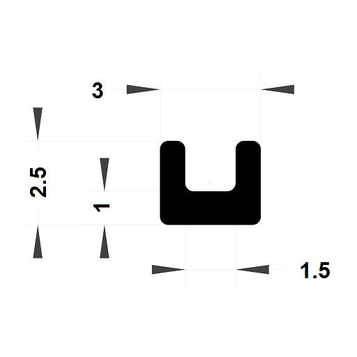 Profilé en U - 2,50x3mm