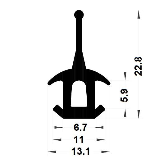 Carpentry gasket - 22,80x13,10 mm