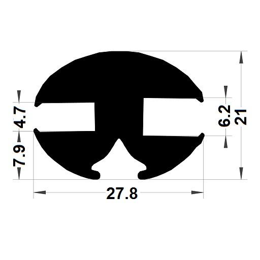 Profilé de pare-brise - 21x27,80 mm