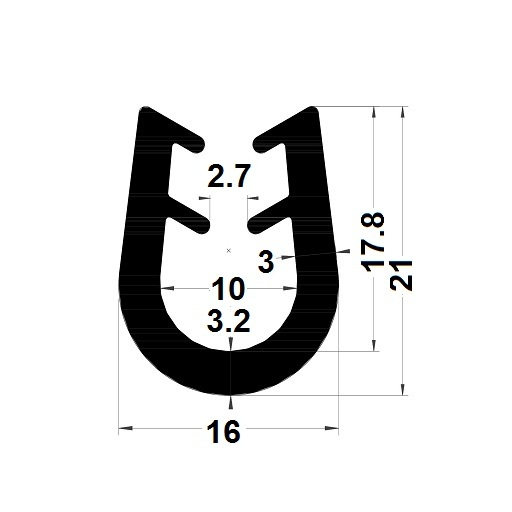 Profilé en U arrondi - 21x16 mm