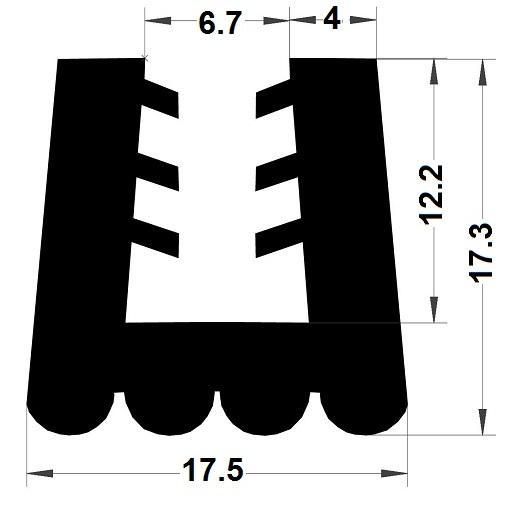 Profilé en U arrondi - 17,30x17,50 mm