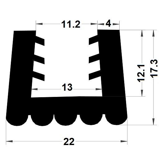 Profilé en U arrondi - 17,30x22 mm