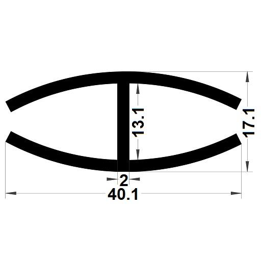Profilé en H - 17,10x40,10 mm