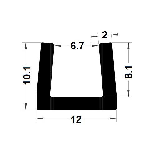 Profilé en U - 10,10x12 mm