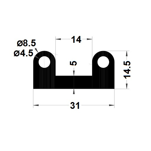 Bumper profile - 14,50x31 mm