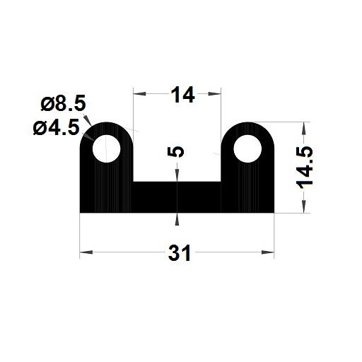 Profilé antichoc - 14,50x31 mm