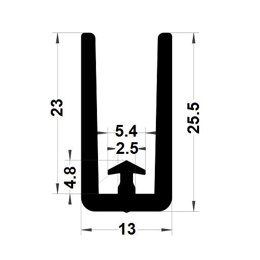 Veranda & conservatory gasket - 25,50x13 mm
