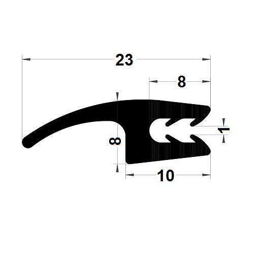 H profile 2 hardnesses - 8x23 mm