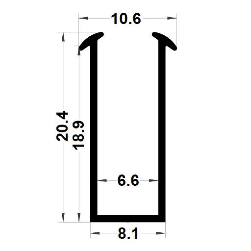 Glazing seal - 20,40x10,60 mm