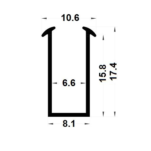 Glazing seal - 17,40x10,60 mm