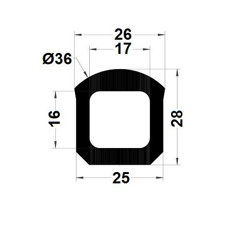 Profilé antichoc - 28x25 mm