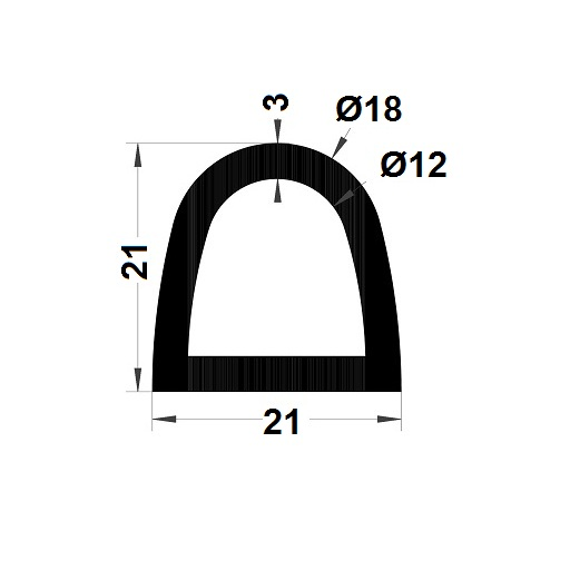 Bumper profile - 21x21 mm