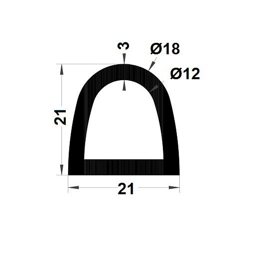 Profilé antichoc - 21x21 mm