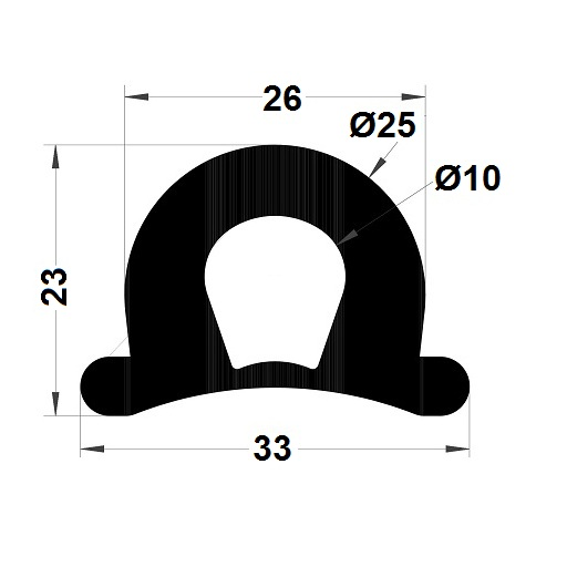 Bumper profile - 23x33 mm