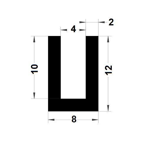 U Profile - 12x8 mm