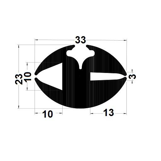 Profilé de pare-brise - 23x33 mm