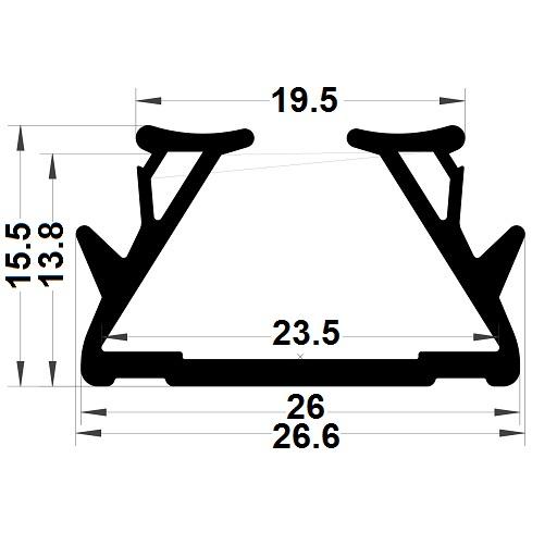 Glazing seal - 15,50x19,50 mm