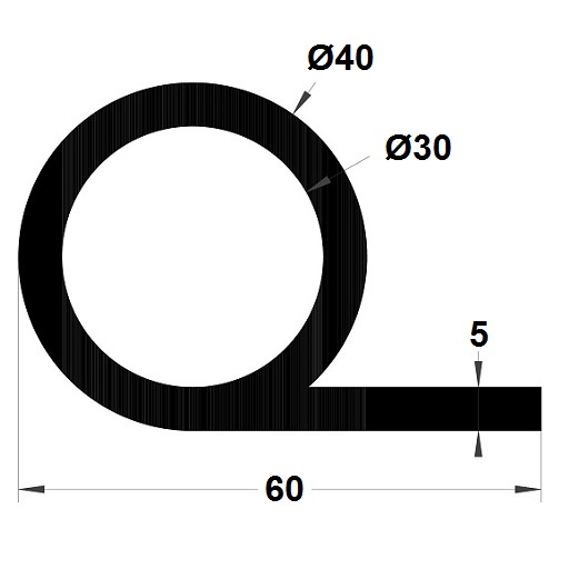 P Profile - 40x60 mm