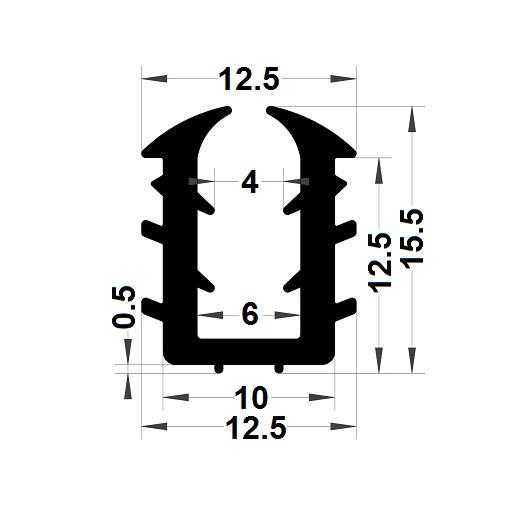 Glazing seal - 15,50x12,50 mm