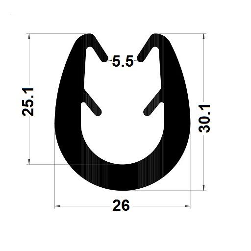 Profilé en U arrondi - 30,10x26 mm