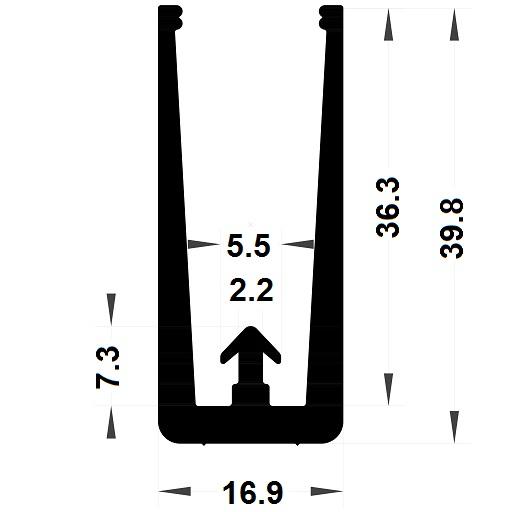 Veranda & conservatory gasket - 39,80x16,90 mm