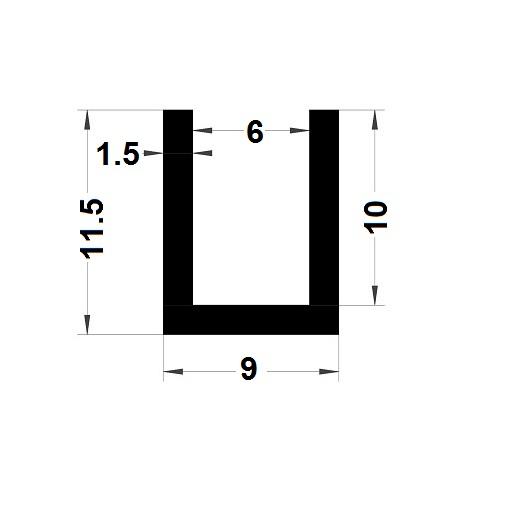 Profilé en U - 11,50x9 mm