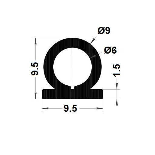 Profilé antichoc - 9,50x9,50 mm