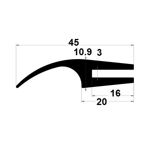 H profile - 15,90x45 mm
