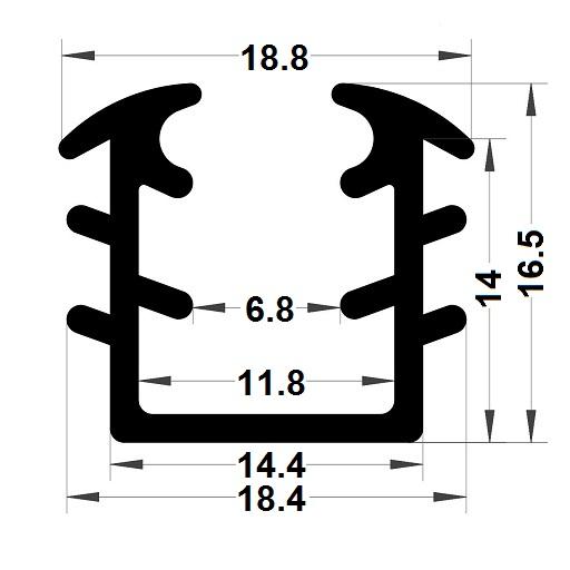 Glazing seal - 16,50x18,80 mm