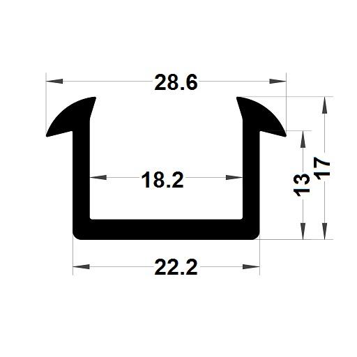 Glazing seal - 17x28,60 mm