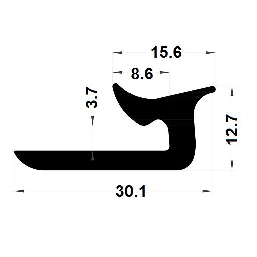 Veranda & conservatory gasket - 30,10x12,70 mm