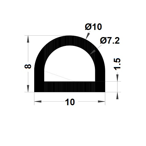 Bumper profile - 8x10 mm